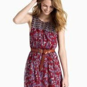 Lucky Brand Red Mixed Print Dress  - Size L